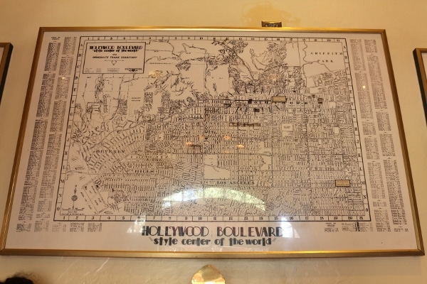 an old map of Hollywood Boulevard framed on a wall