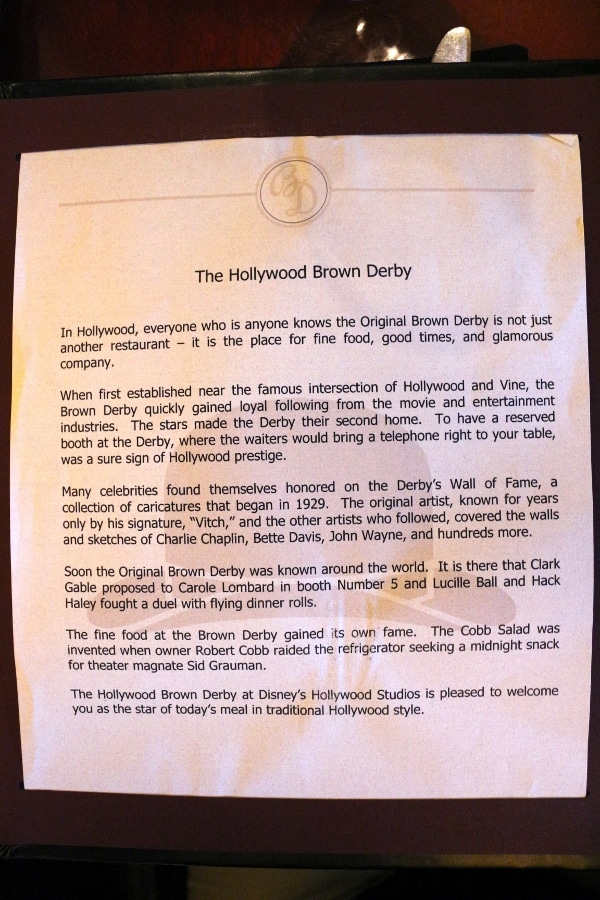 text about The Hollywood Brown Derby included in the menu