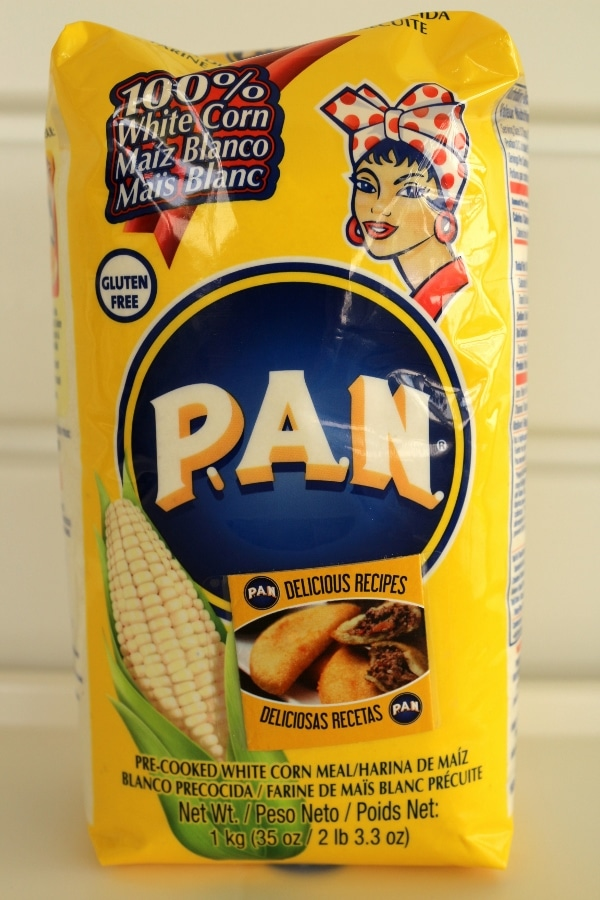 a bag of PAN brand pre-cooked white cornmeal