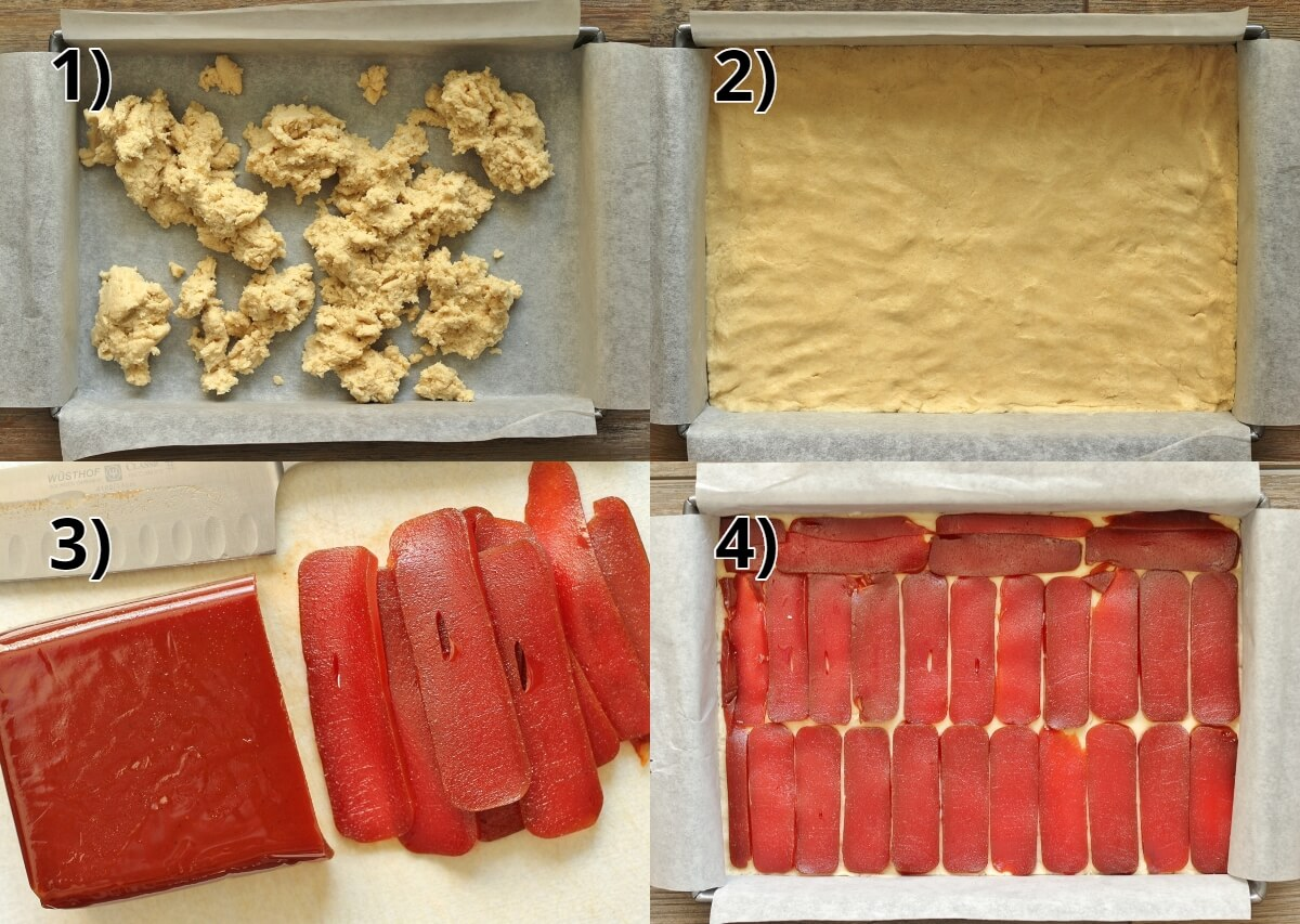 step by step photos of pressing shortbread dough in pan and topping with guava paste