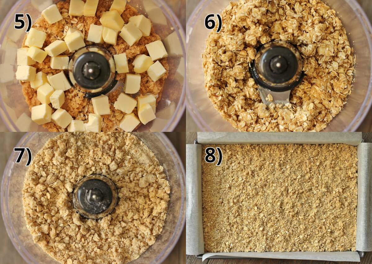 step by step photos of making oat crumb topping