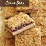 a platter of homemade guava bars with oat topping