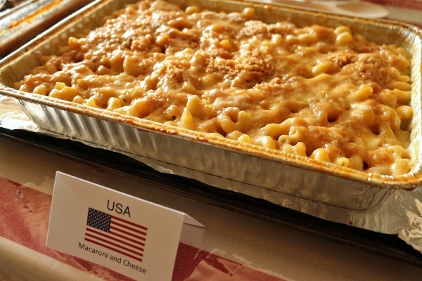 a foil baking tray of baked macaroni and cheese