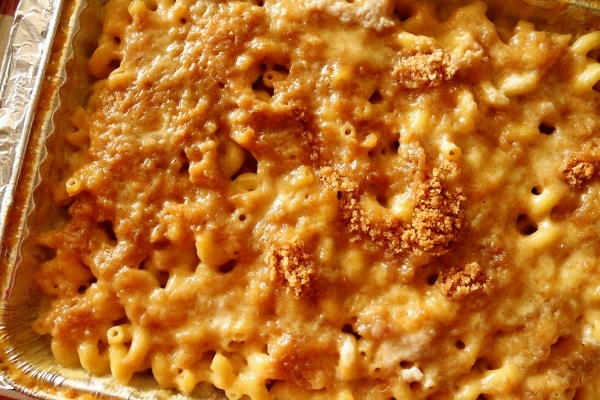 overhead view of bubbly baked macaroni and cheese