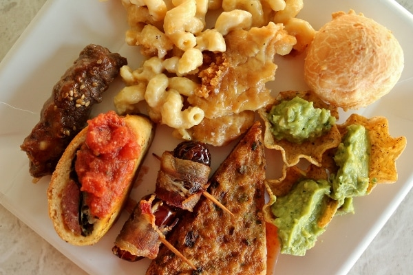 overhead view of a plate of various foods