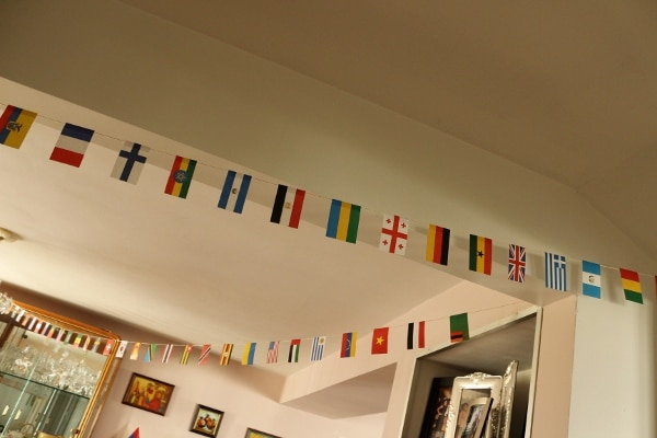 small flag decorations strung across a room