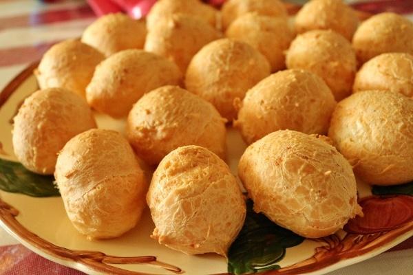 a platter of Brazilian cheese bread balls