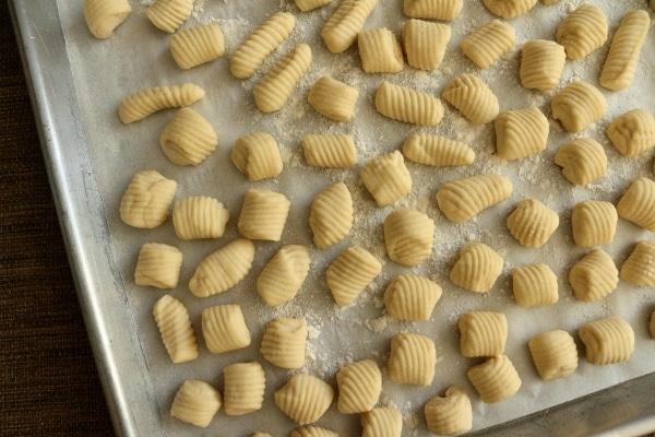 a baking sheet of ricotta cavatelli