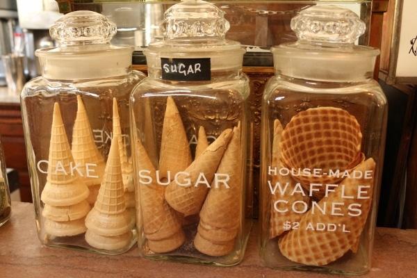 ice cream cones in glass jars