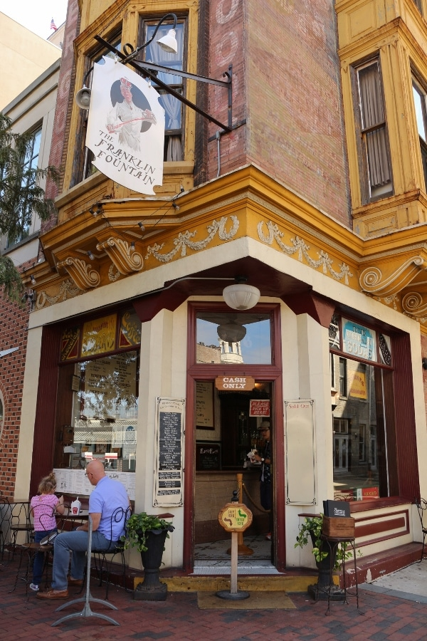 exterior of The Franklin Fountain ice cream shop in Philadelphia