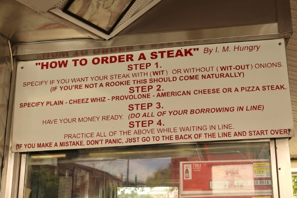 closeup of a sign that says How to Order a Steak