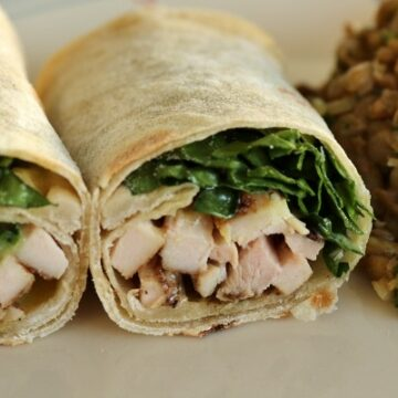 Chicken shawarma with garlic sauce and greens