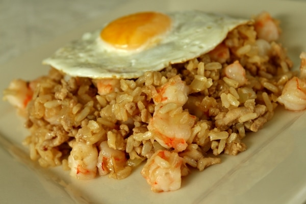 side view of nasi goreng fried rice with shrimp and a fried egg