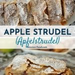 sliced German apple strudel topped with powdered sugar