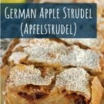 closeup of a platter of sliced German apple strudel
