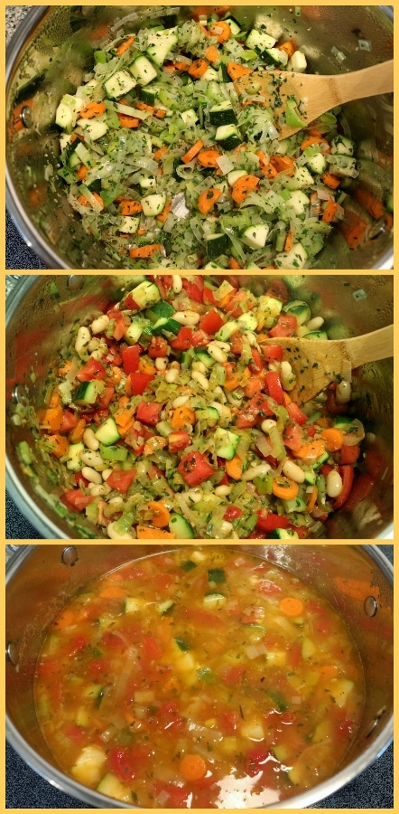 step by step photos of making minestrone soup