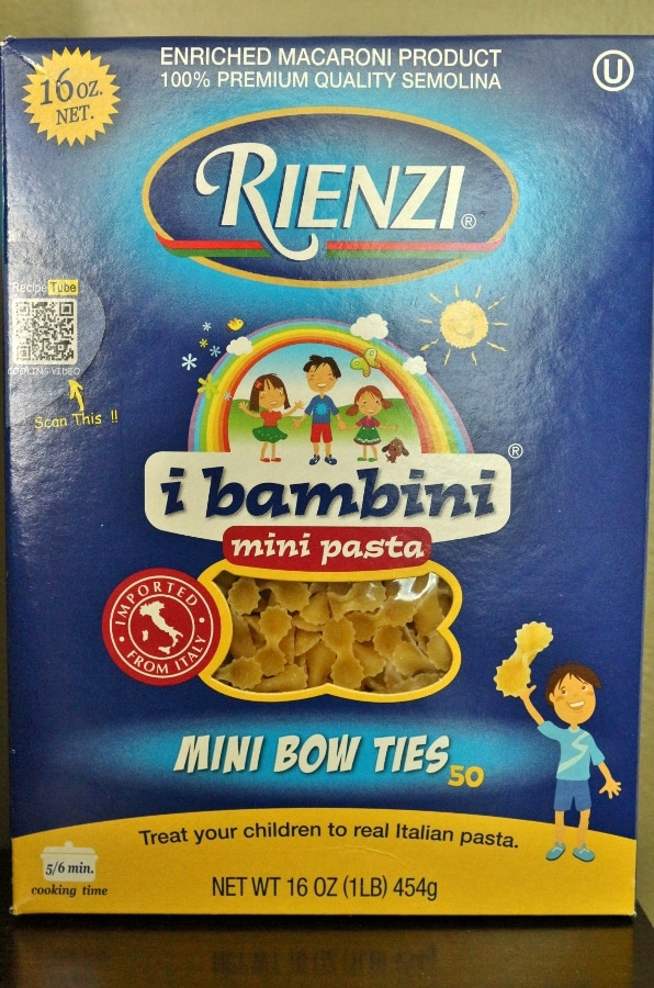 a box of Rienzi mini bow ties pasta
