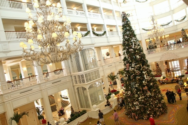 wide view of the Grand Floridian lobby decorated for Christmas