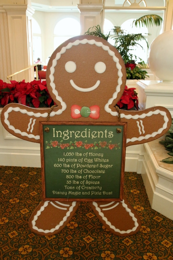 a large gingerbread man sign listing ingredients for gingerbread