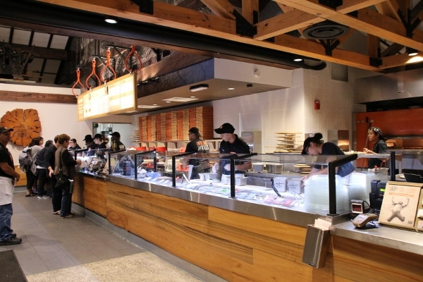 wide view of the interior of Blaze Pizza at Disney Springs