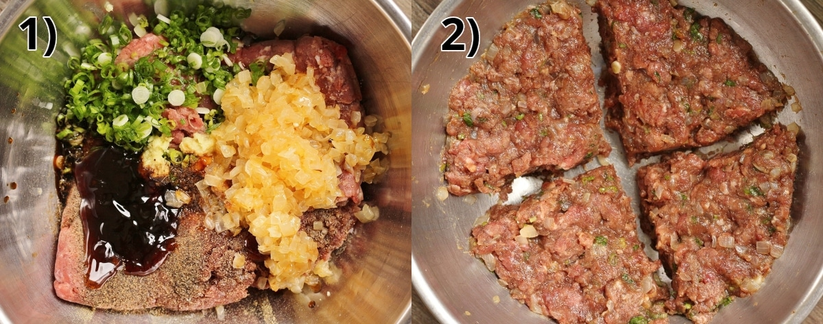 step by step photos of making spicy beef filling for dumplings