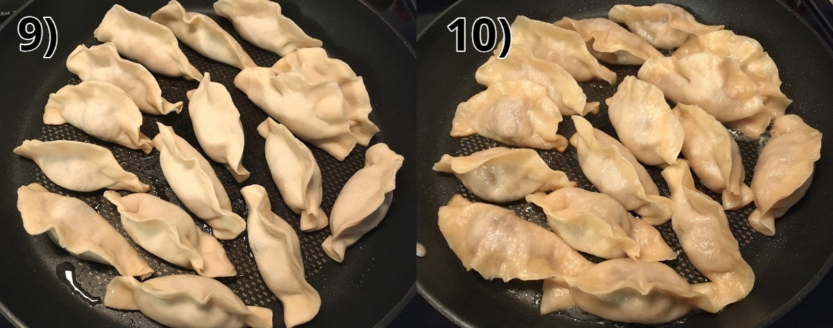 step by step photos of pan-frying homemade Chinese dumplings