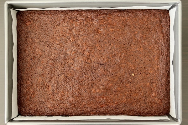 a pan of brownies before being cut