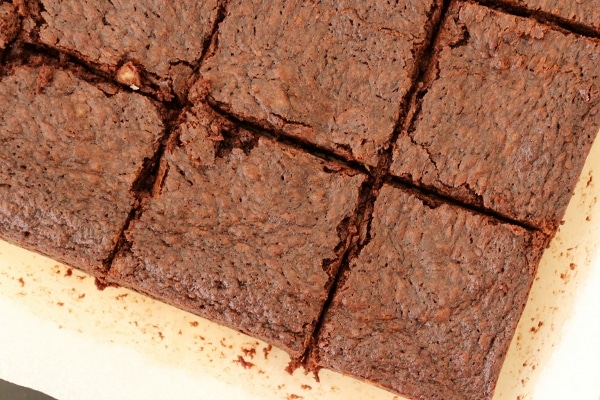 brownies on a cutting board cut into squares