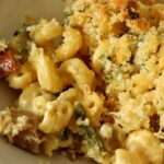 Mac n cheese with chorizo and poblanos