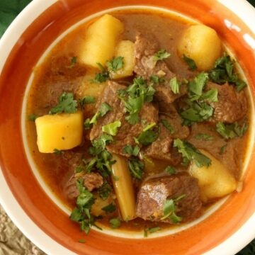 Burma Superstar beef curry with potatoes in a retro style bowl