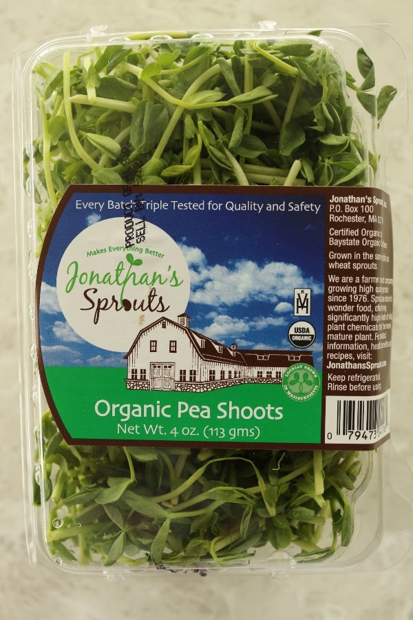 a package of organic pea shoots