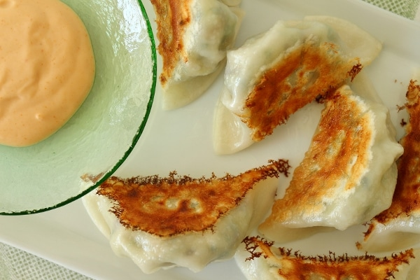 overhead view of a plate of fried dumplings