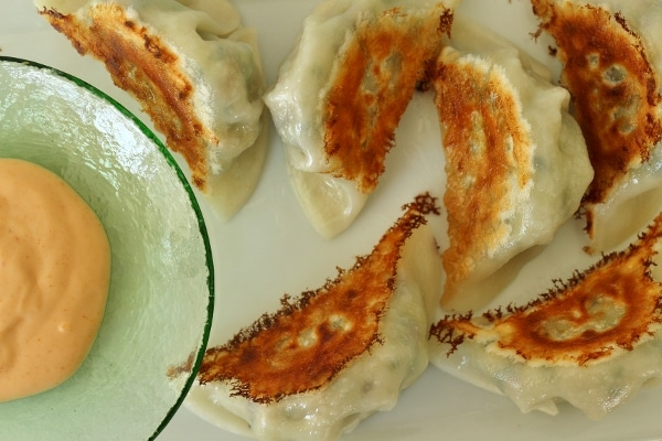 overhead view of pan-fried dumplings with a sriracha mayo dipping sauce