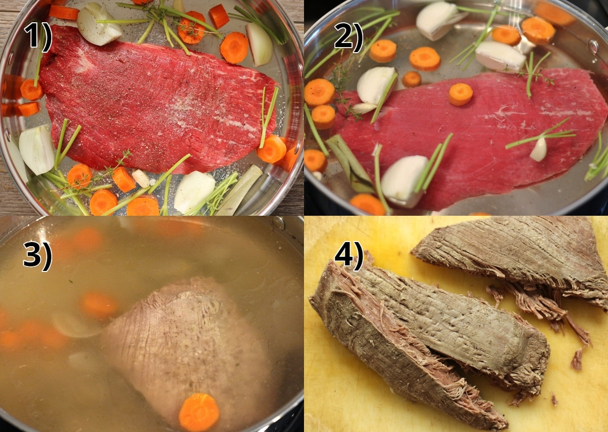 step by step photos of braising flank steak