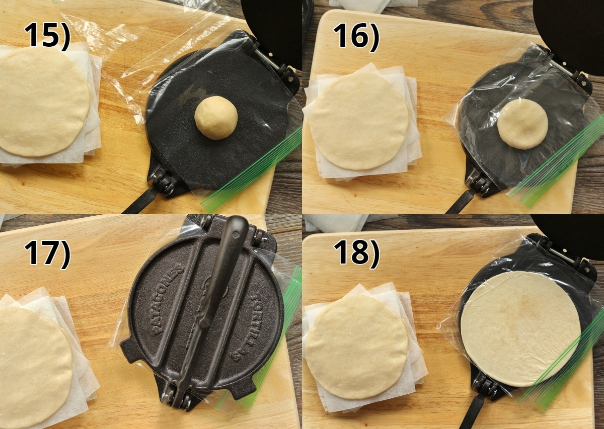 step by step photos of how to make empanada discs with a tortilla press