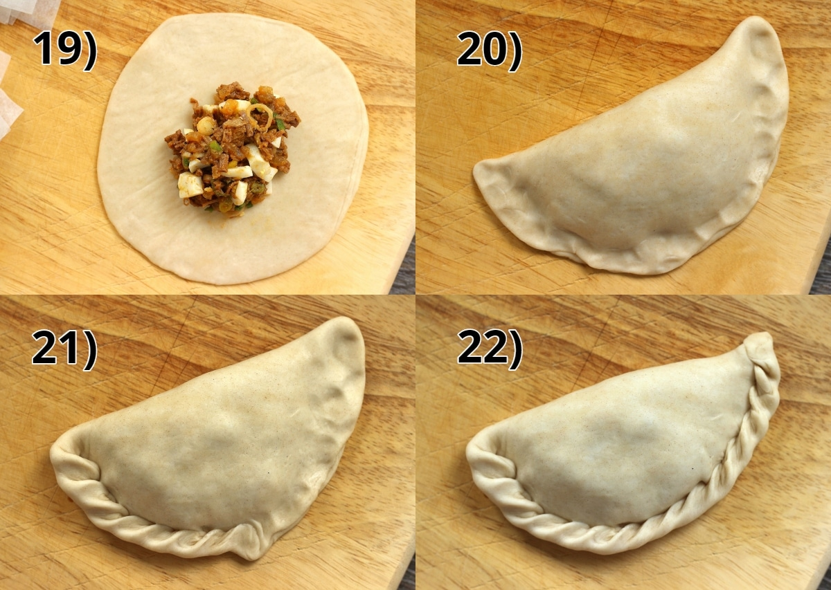 step by step photos of how to fill and shape an empanada
