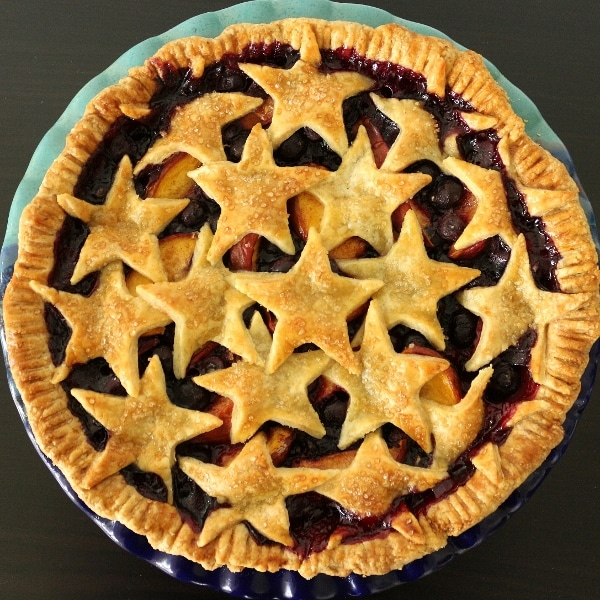 overhead view of a baked blueberry nectarine pie