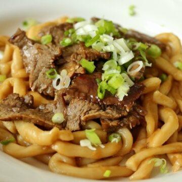 Beef teriyaki udon noodles