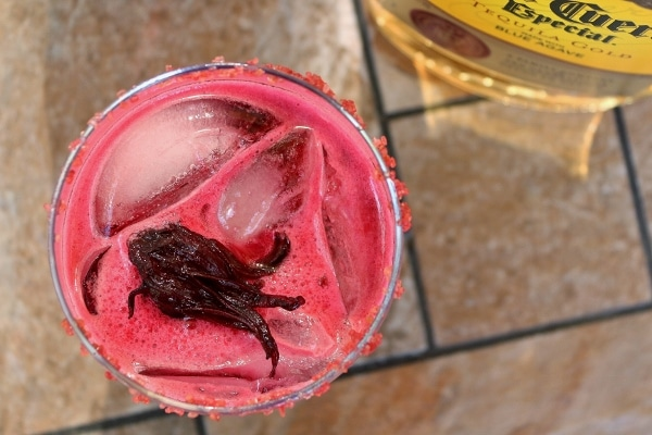 overhead closeup of a hibiscus margarita