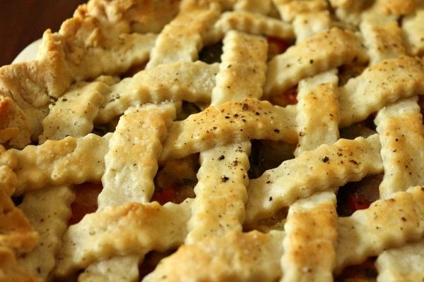 closeup of the lattice crust on a savory pie