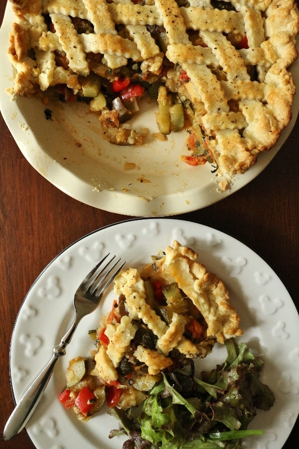 overhead view of a sliced ratatouille pie