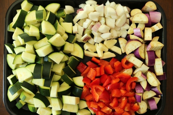 chopped vegetables on a tray