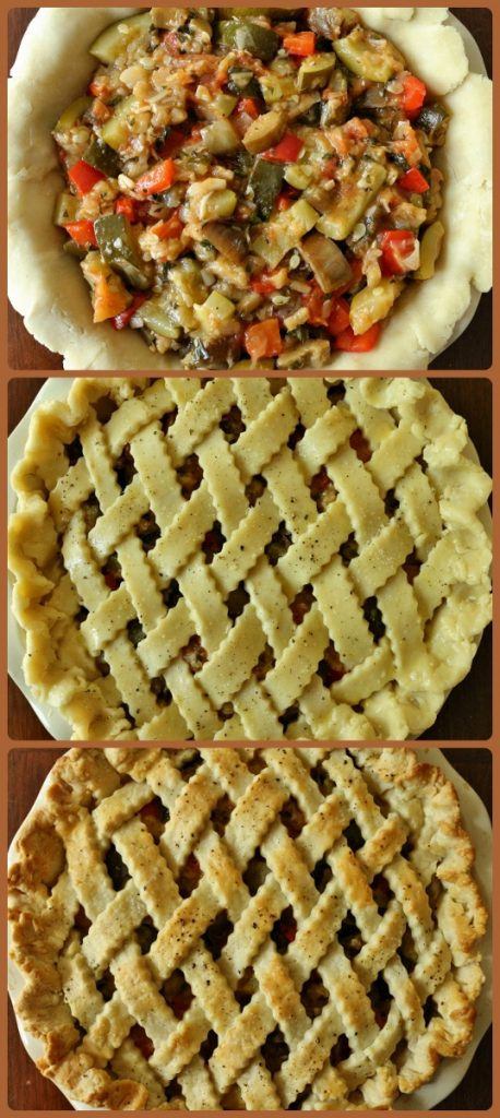 assembly and process shots of baking a ratatouille pie