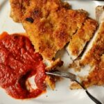 Brined pork Milanese with tomato balsamic sauce