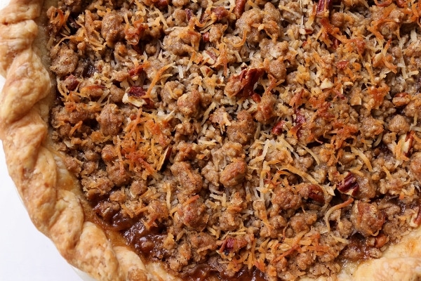 overhead view of a hummingbird pie with a crumble topping