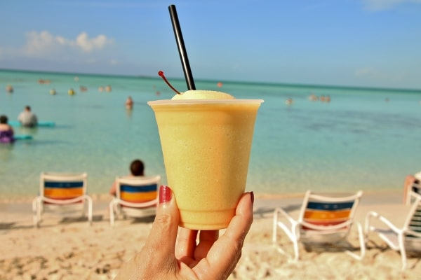 a frozen drink on a beach