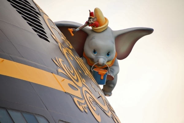 A close up of Dumbo on the back of the Disney Fantasy