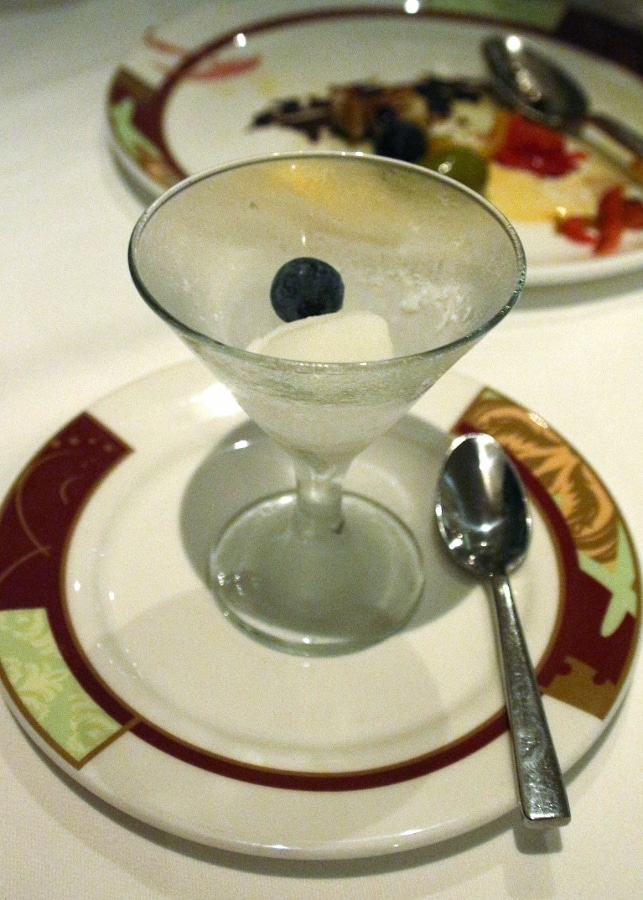 a scoop of sorbet in a small cocktail glass