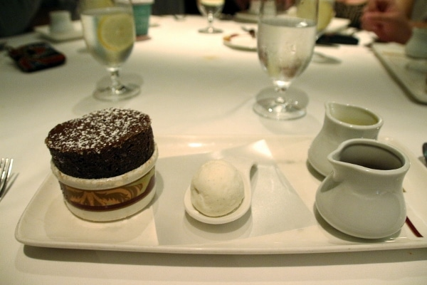 a chocolate souffle served with ice cream
