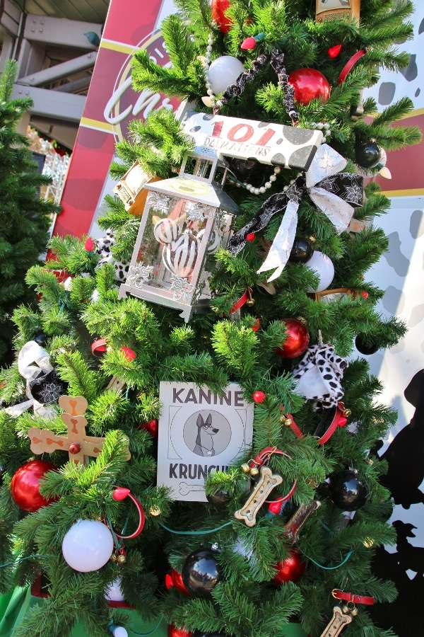 a Christmas tree decorated with a 101 Dalmatians theme
